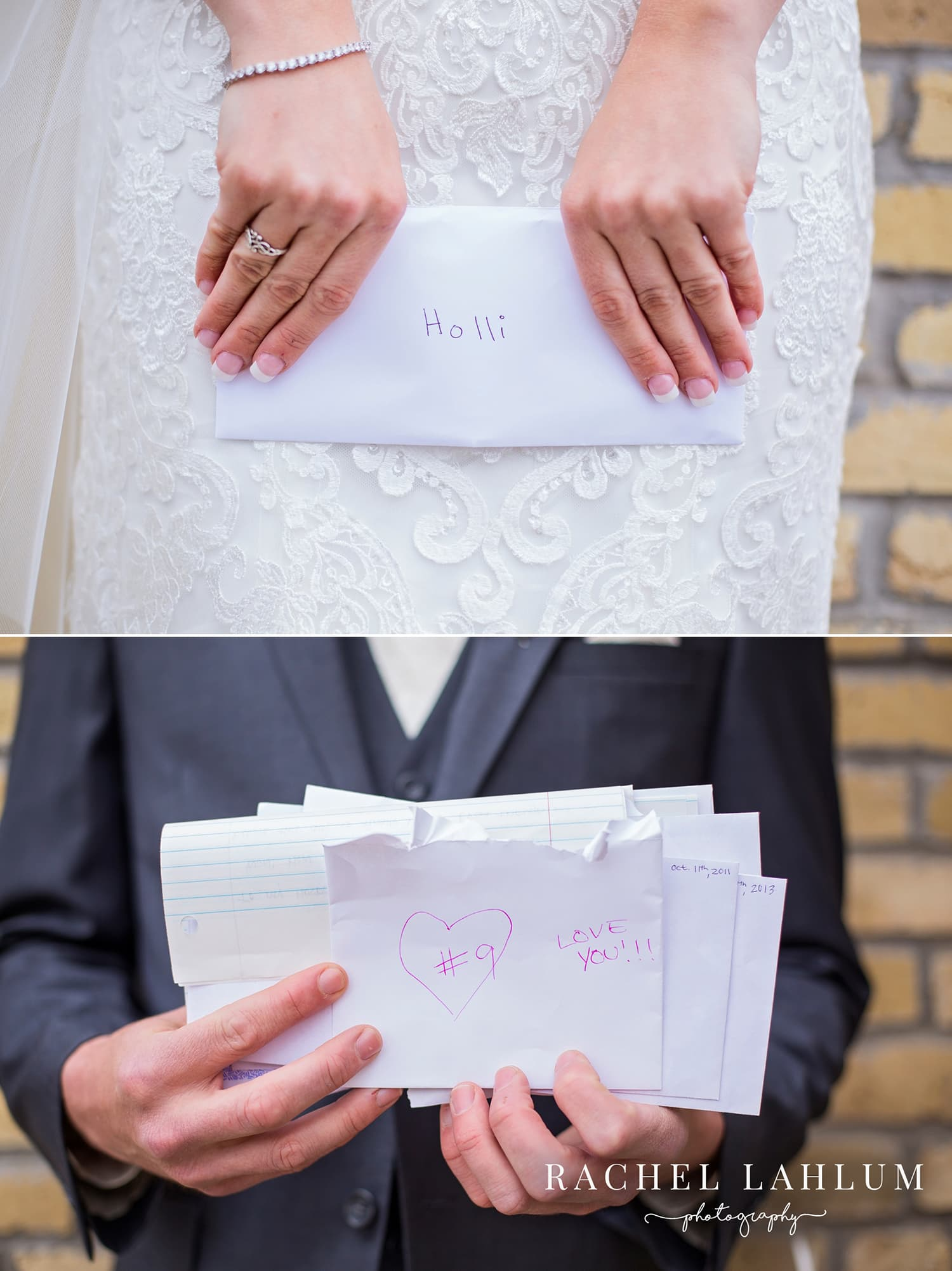 Bride and groom exchange letters on their wedding day