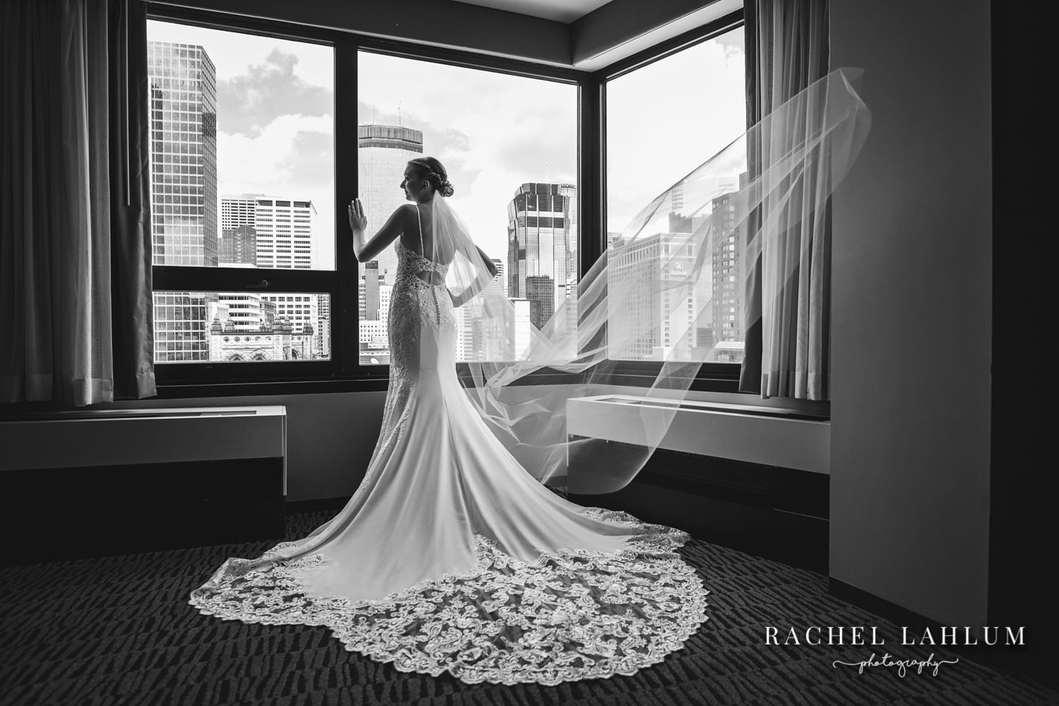 Black and white bridal dress wedding portrait in Millennium Hotel - Downtown Minneapolis