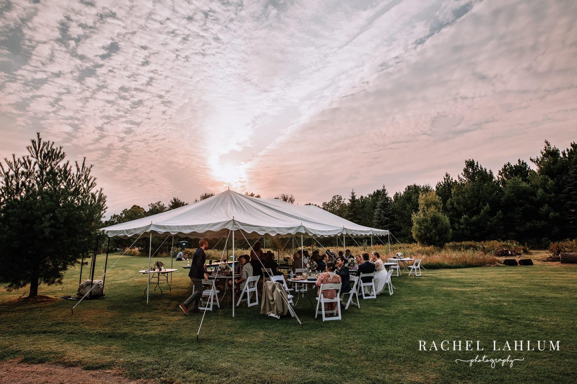 Wedding reception photography at sunset in Zimmerman, Minnesota.