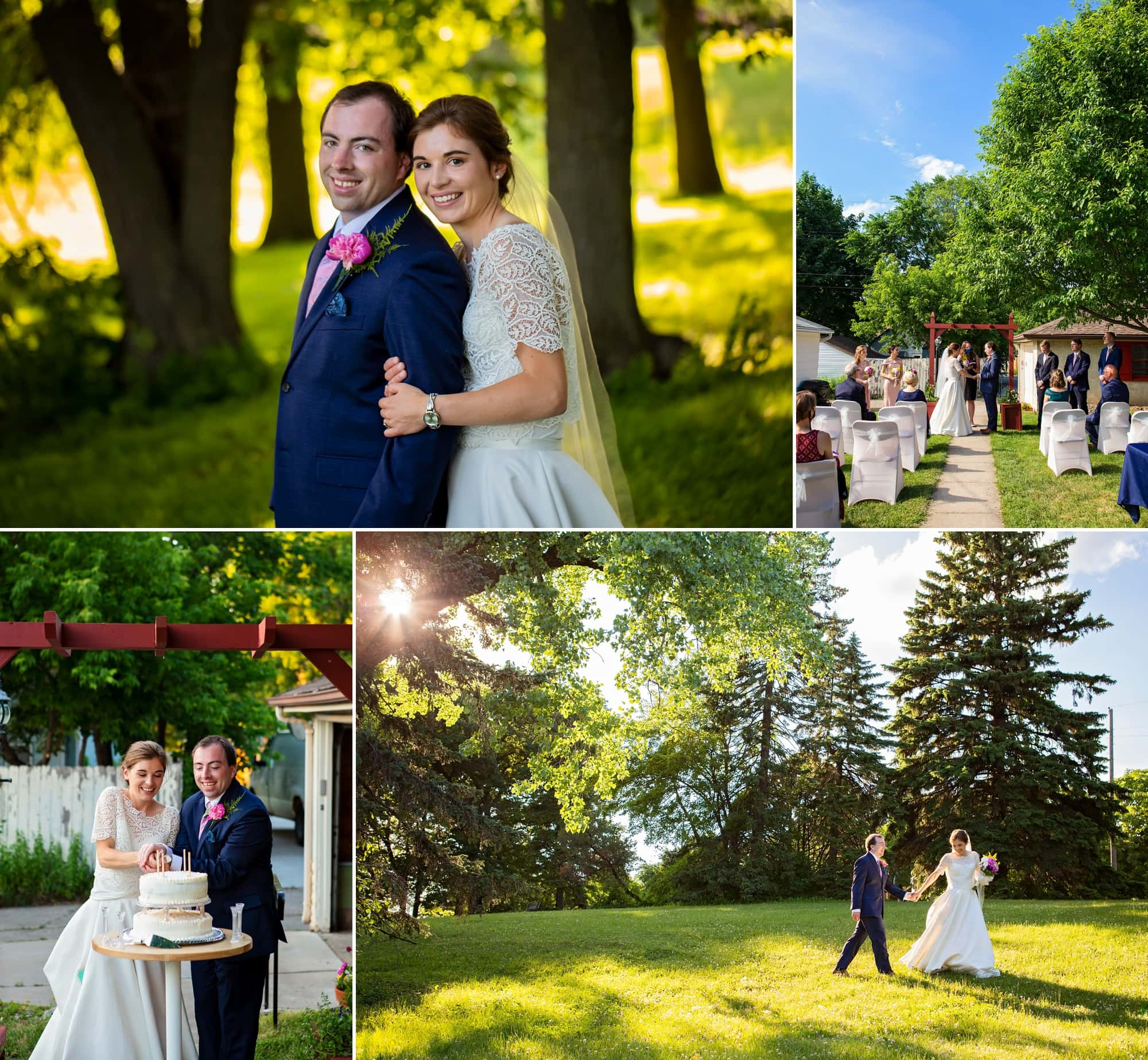 Images of bride and groom, Claire and Shane, at a backyard wedding in Northeast Minneapolis.