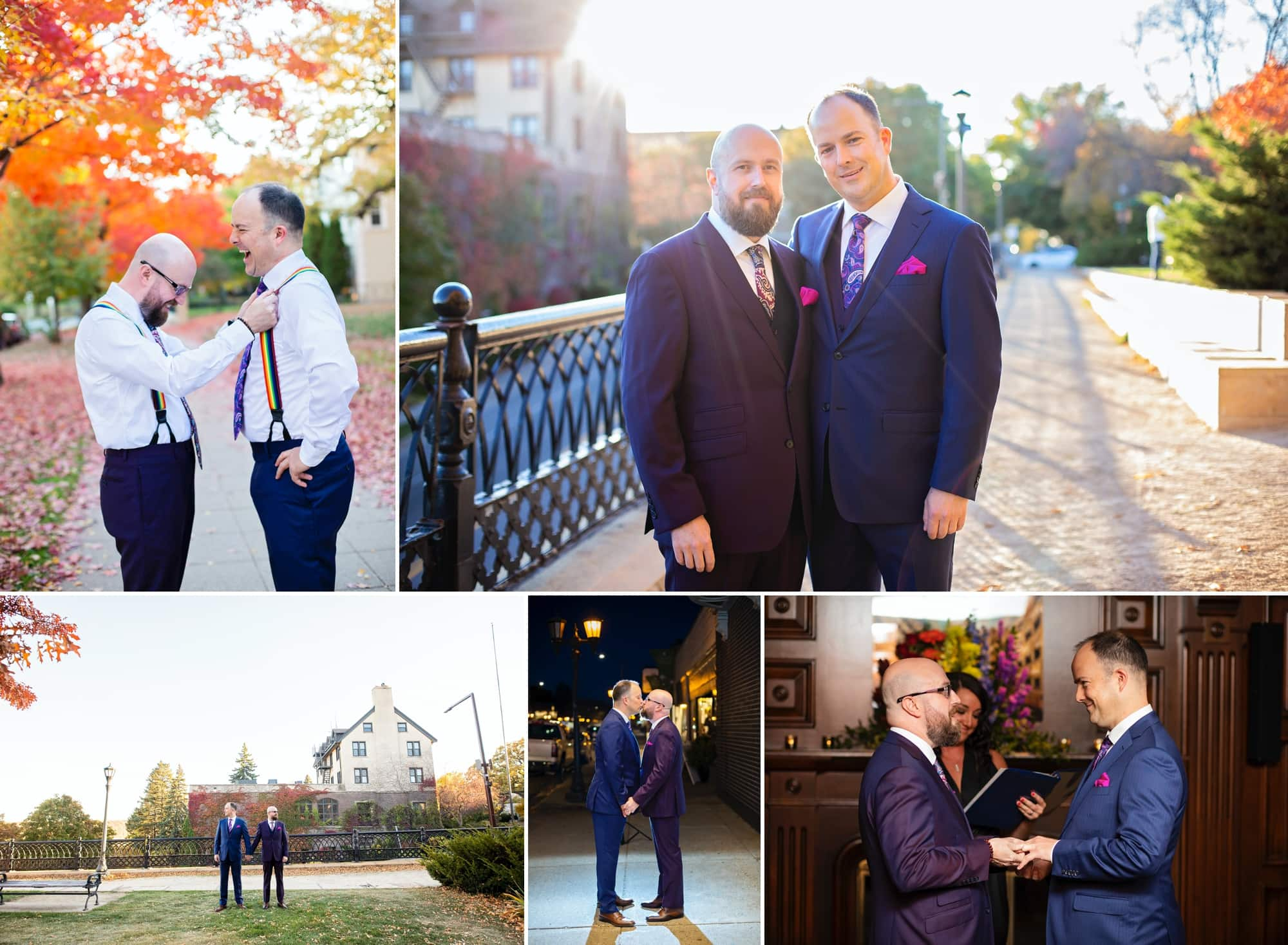 Gallery of Eric and Michael's autumn wedding ceremony in St. Paul, Minnesota.