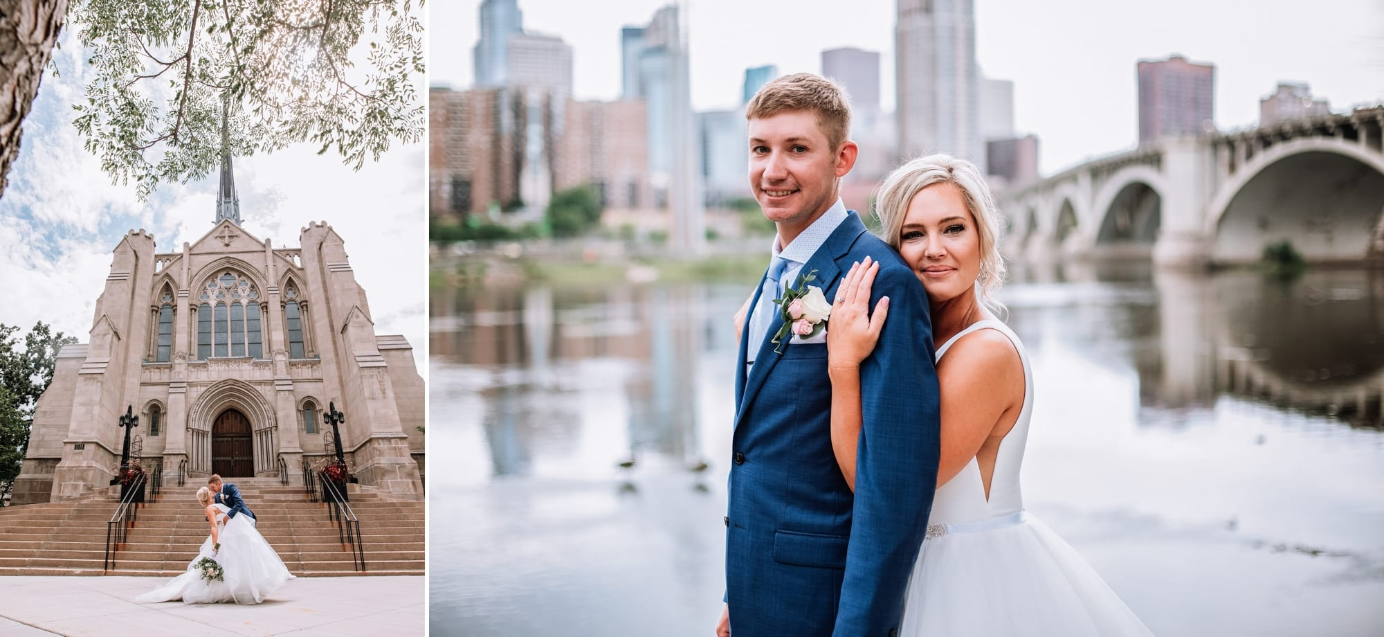 Wedding photos for Chelsea and Sawyer at Hennepin Avenue United Methodist Church in Minneapolis.