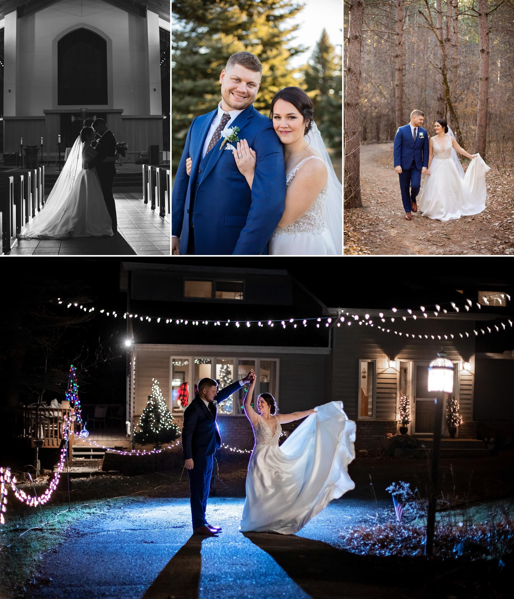 Gallery of bride and groom portraits at St. Joseph's Church in Rosemount, Minnesota.