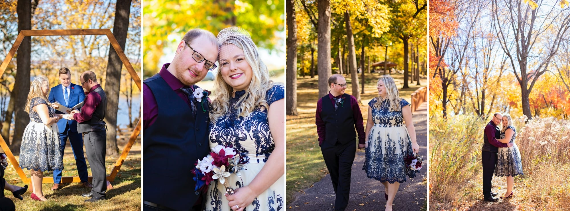 Ashley and Randy's autumn wedding ceremony at Schaar's Bluff in Hastings, Minnesota.