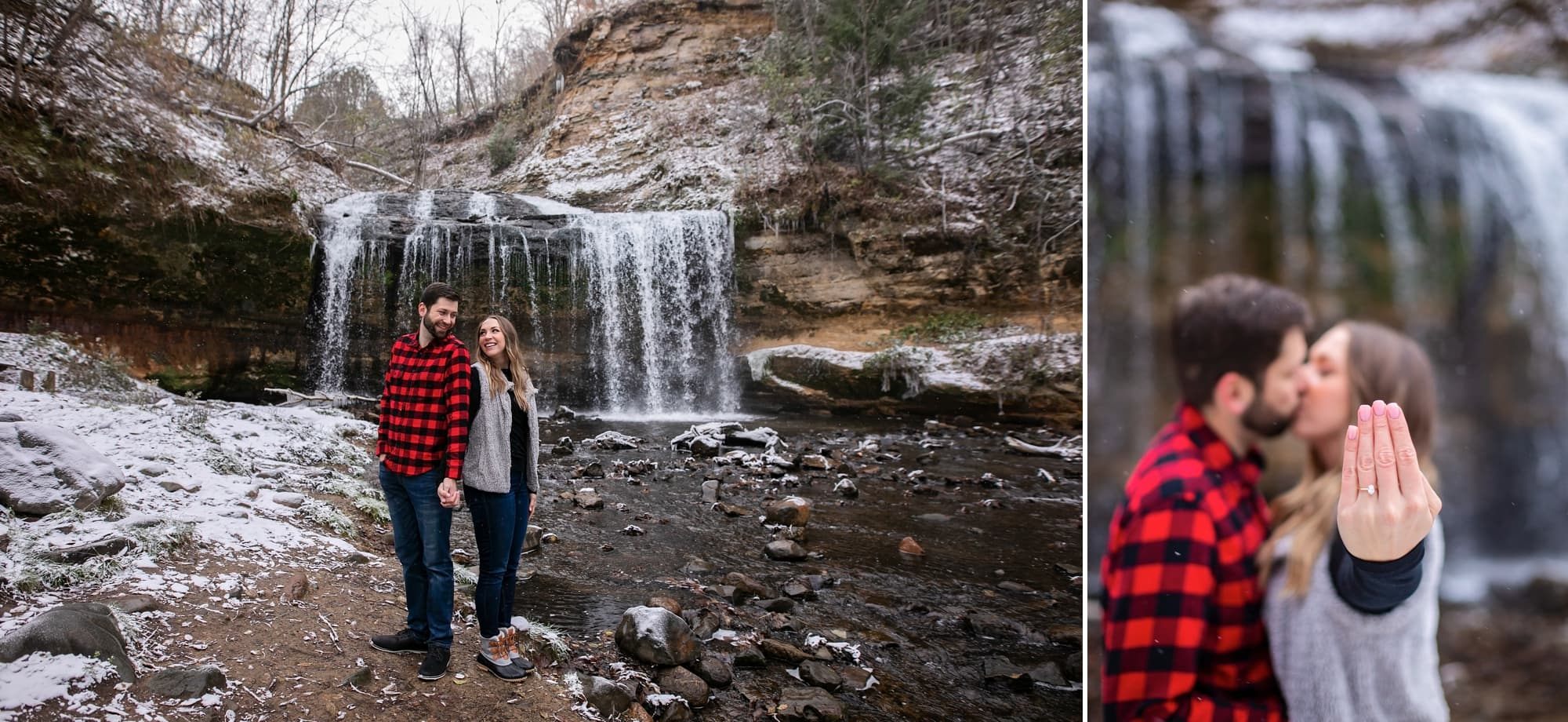 Couple stands at a water fall for engagement photos at Interstate Park in Taylors Falls, Minnesota.