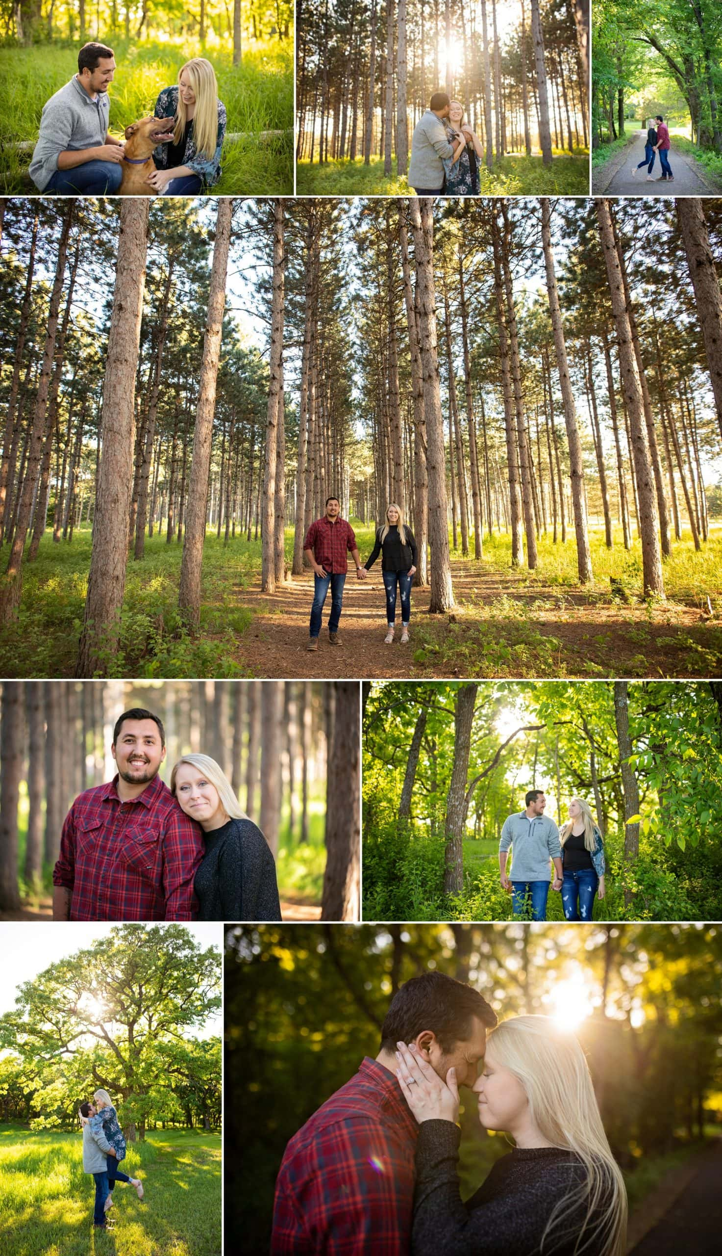 Couple stand among pines at Montissippi Regional Park for engagement photos.