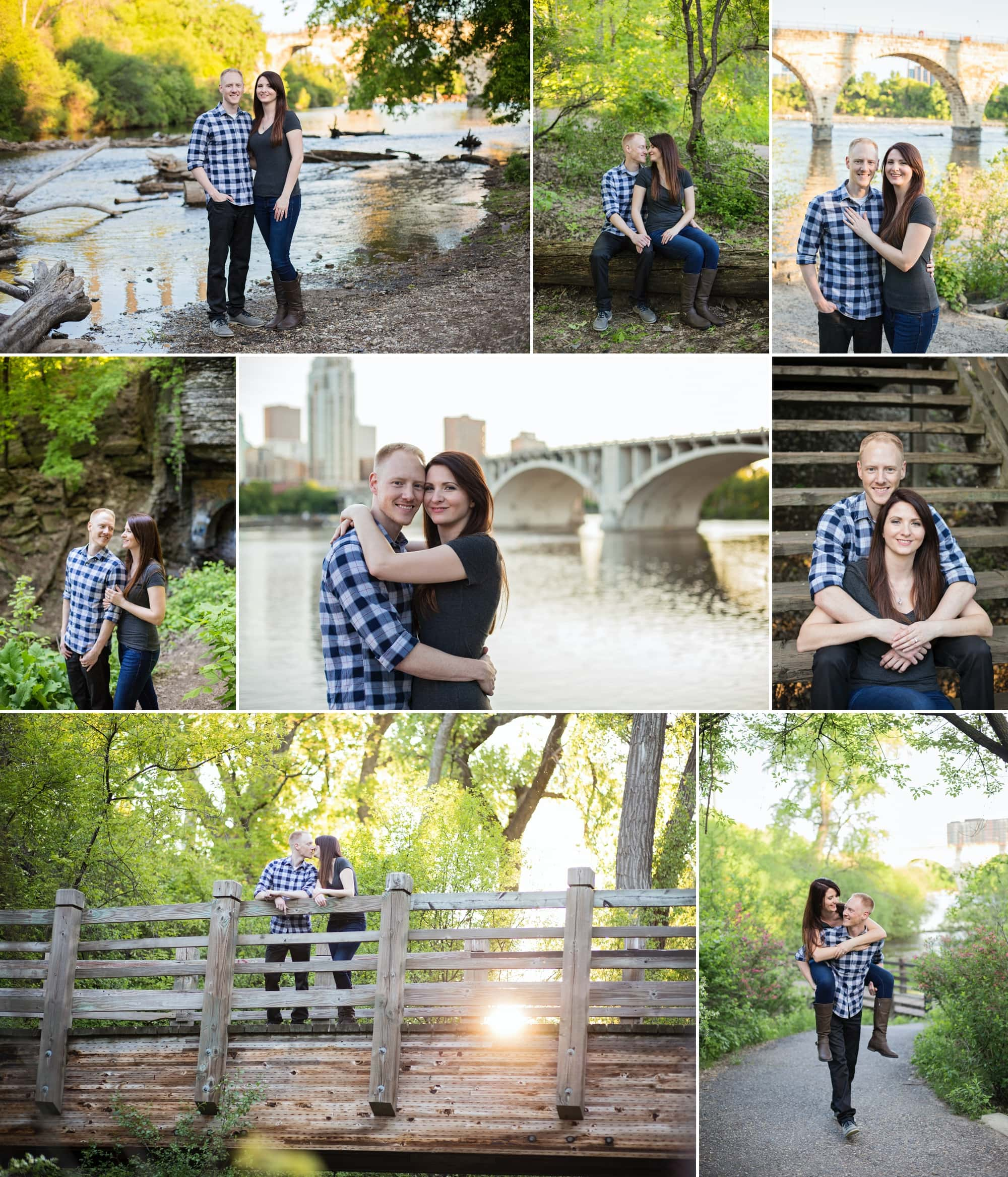 A couple poses for engagement photos at Hennepin Island in Minneapolis.