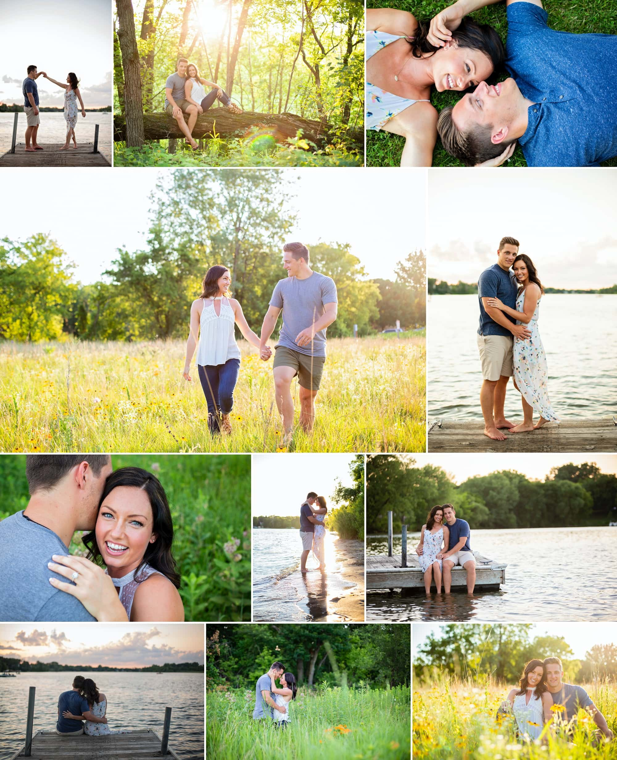 Newly engaged couple poses for a photography session at Long Lake Park in New Brighton, Minnesota.
