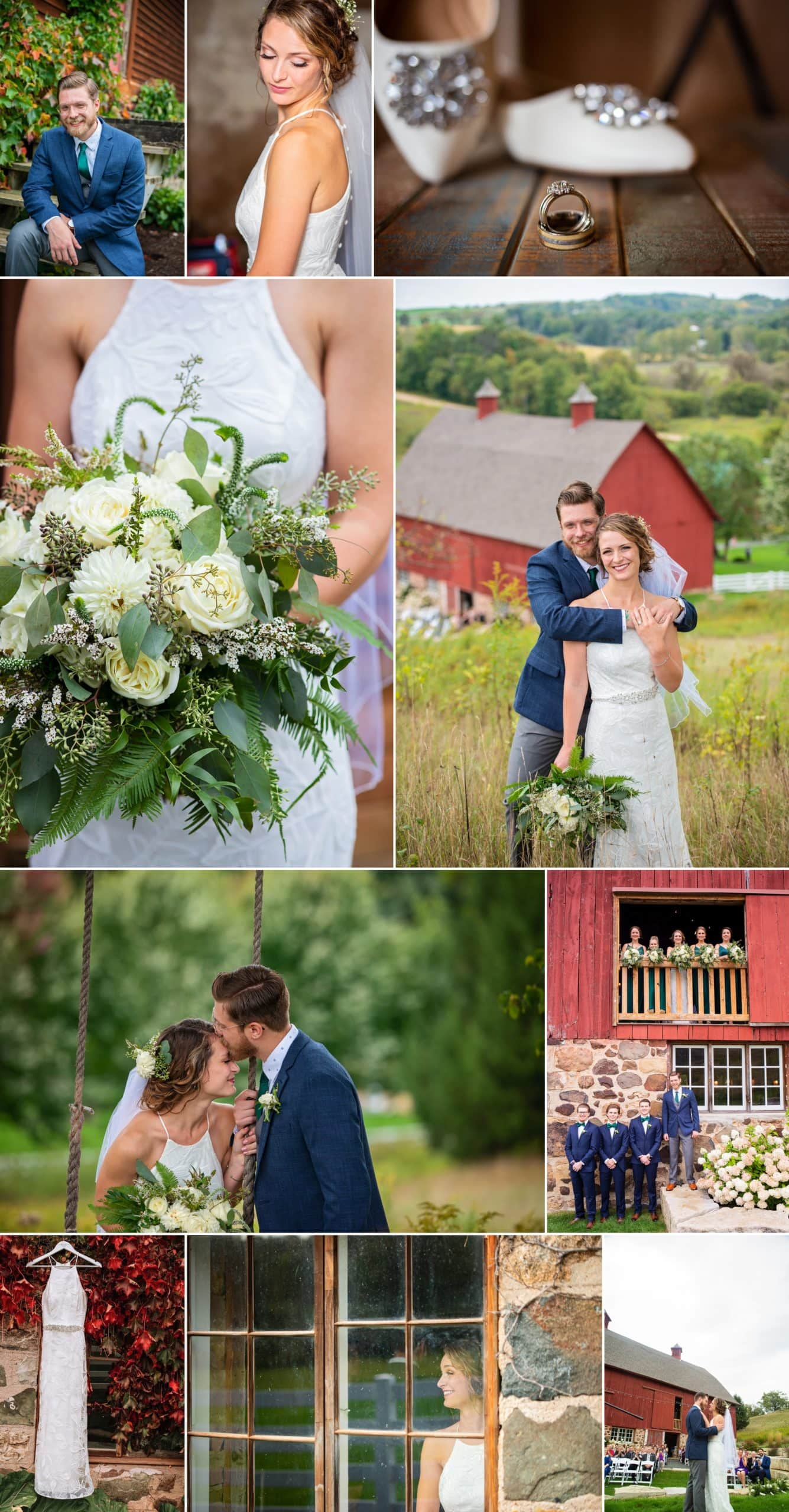 Collage exhibiting the editing and gallery creation skills of Minnesota  wedding photographers Allison Million and Rachel Lahulm.
