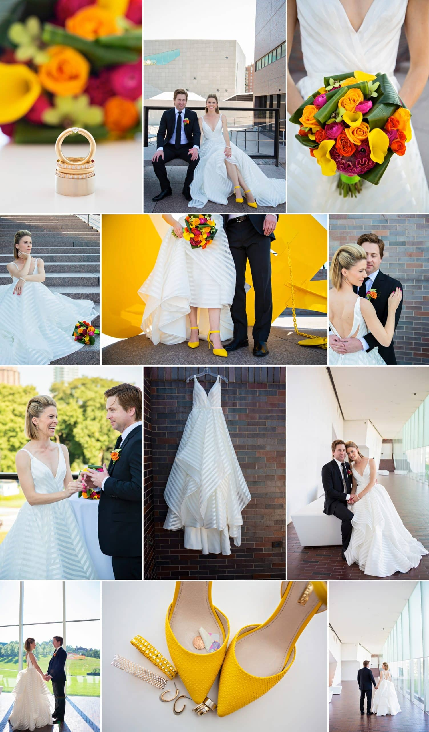 Photo collage of Minneapolis wedding photography editing collaboration by wedding photographers Allison Million and Rachel Lahlum.