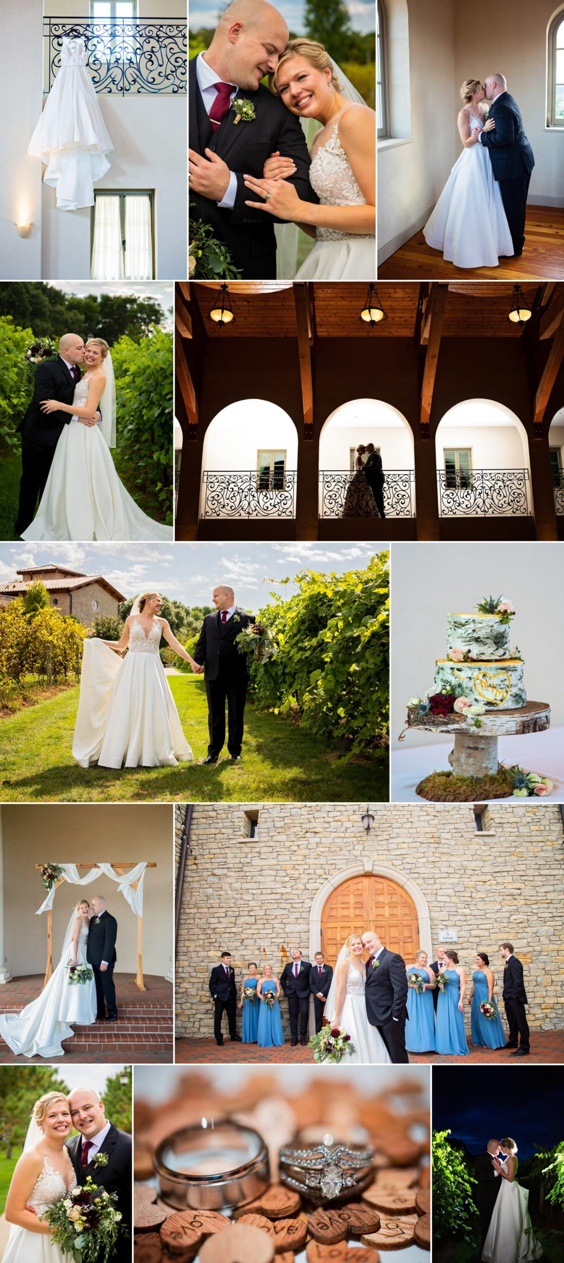 Collage of photos from Pepin, Wisconsin, wedding taken and edited Allison Million and Rachel Lahlum.