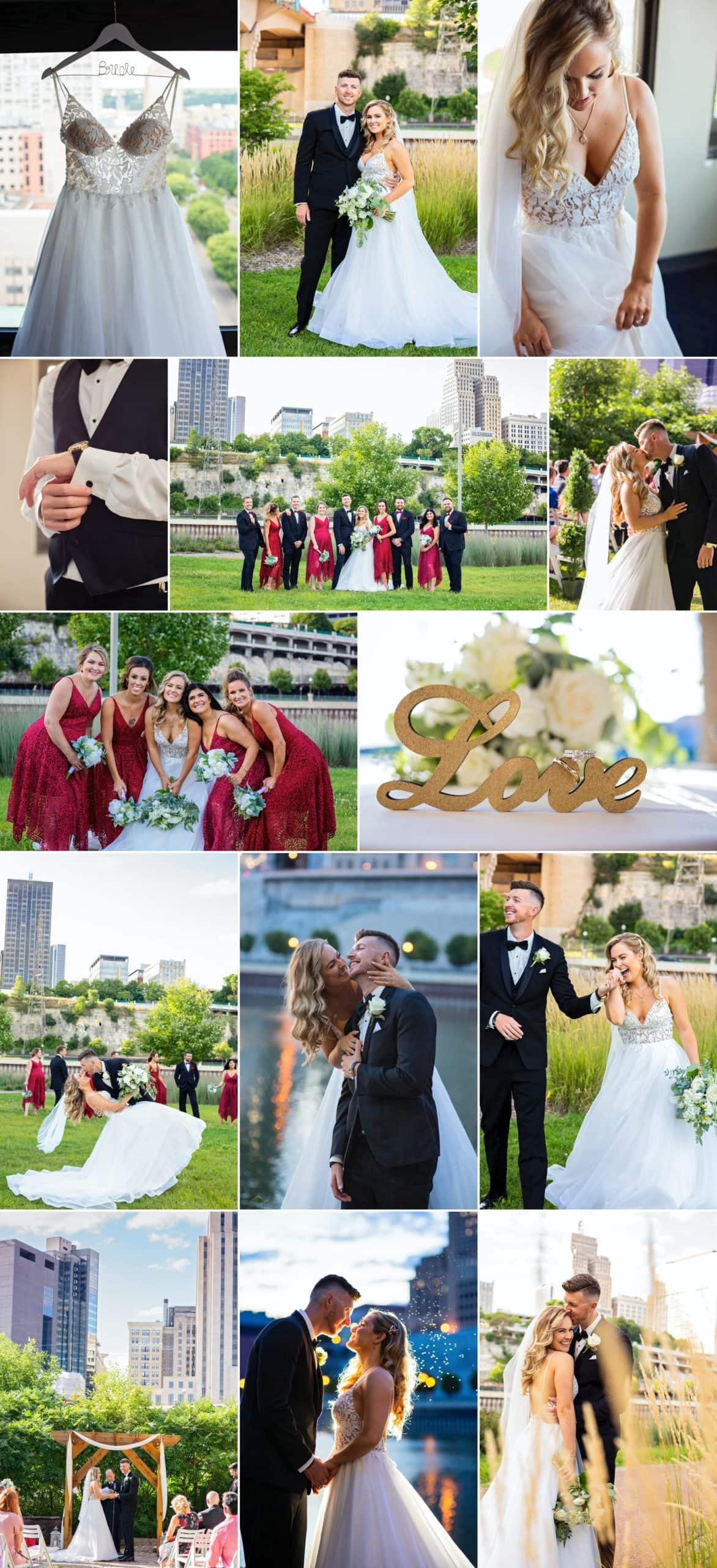 Saint Paul wedding photography collage, taken and edited by Minnesota photographers Allison Million and Rachel Lahlum.