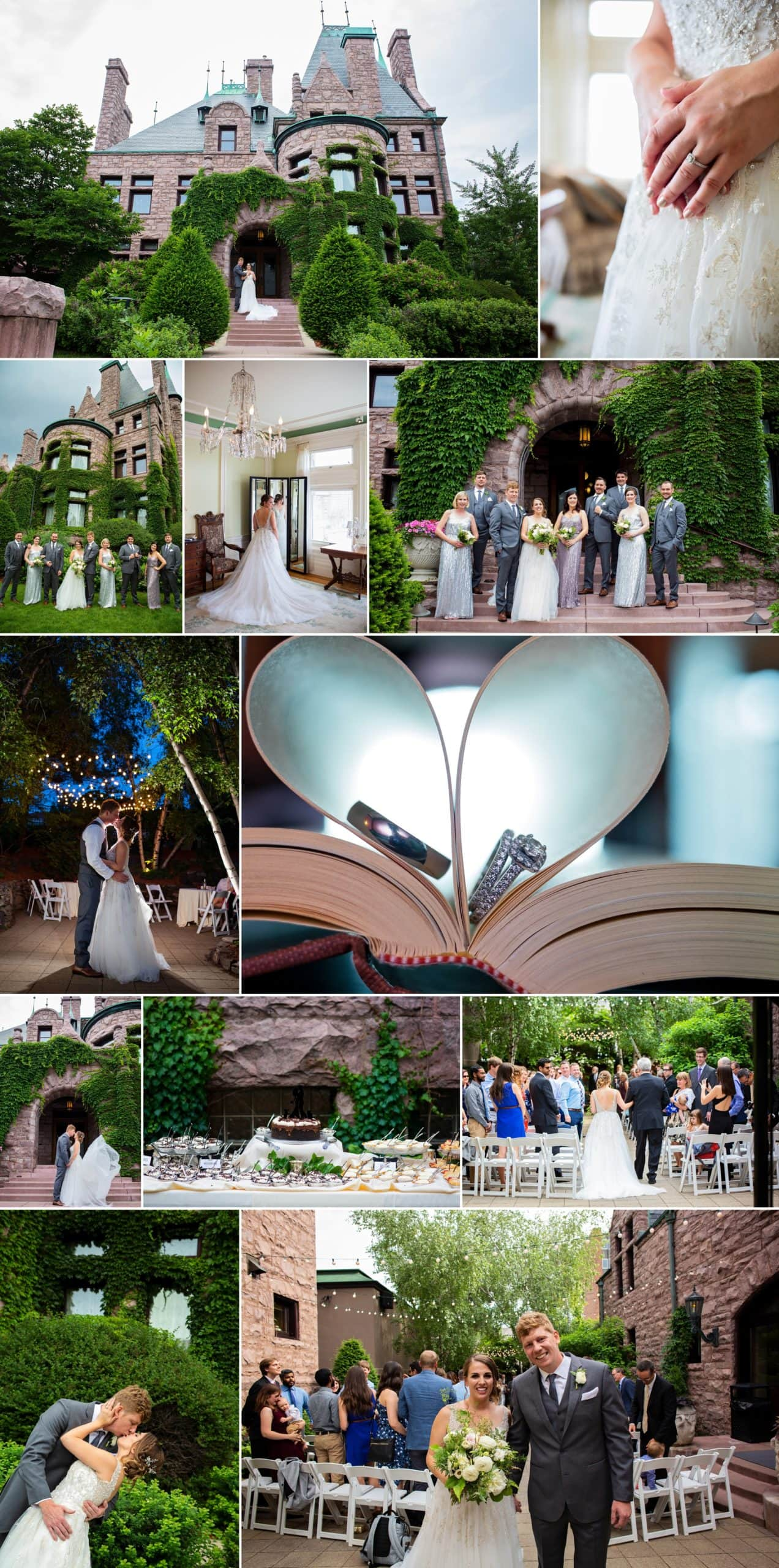 Photo collages of work by photographers Allison Million and Rachel Lahlum at Minneapolis wedding.
