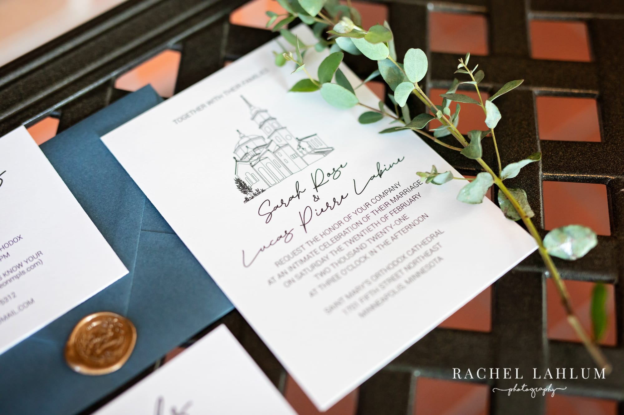 Invitation for Lucas and Sarah's wedding in Northeast Minneapolis.
