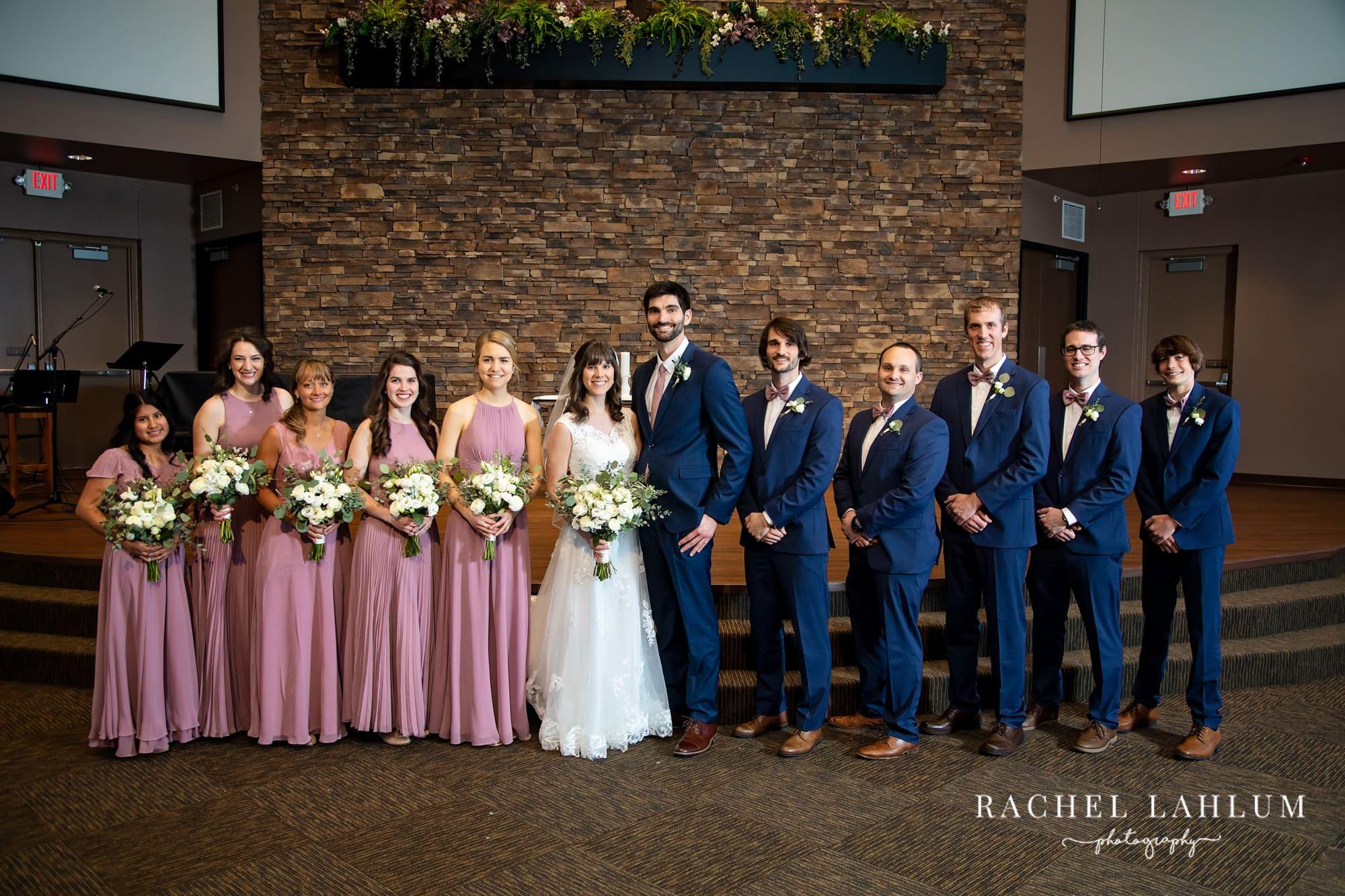Bridal party portrait before ceremony at Eden Baptist Church, Burnsville, Minnesota.
