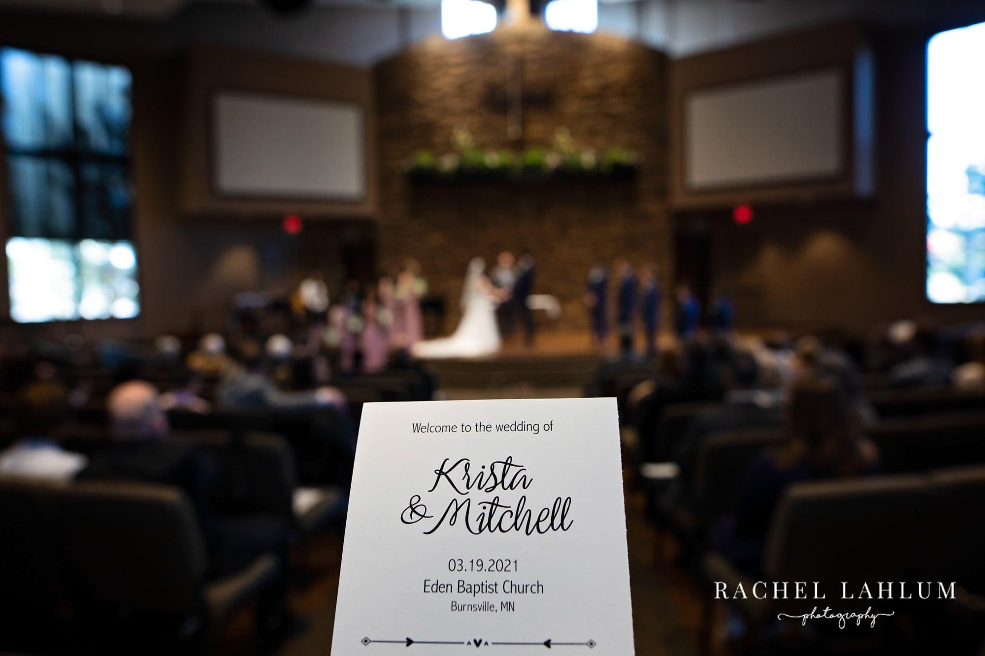 Welcome program in front of Wedding ceremony at Eden Baptist Church in Burnsville, Minnesota.