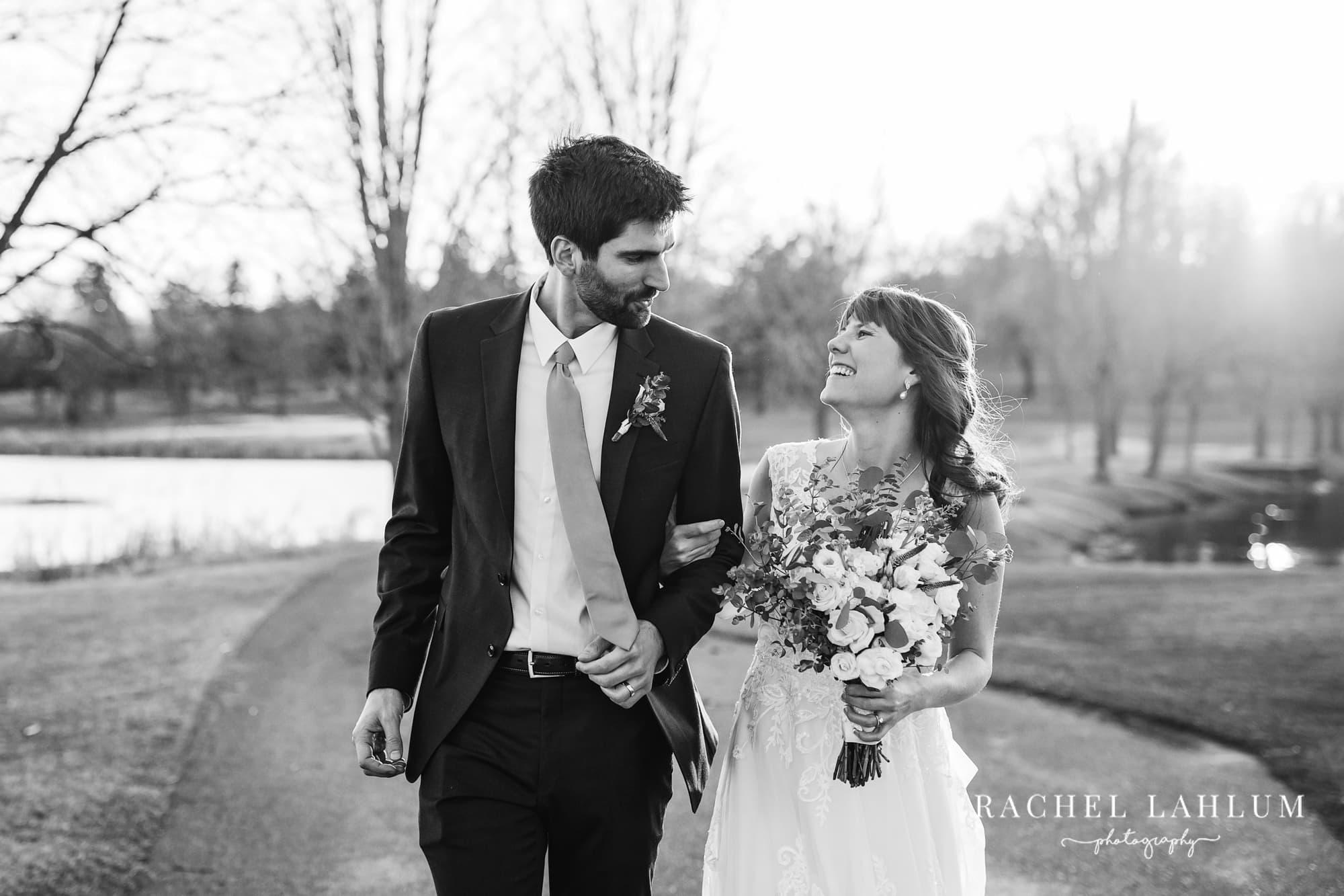 Bride and groom wedding portrait at Mendakota Country Club.