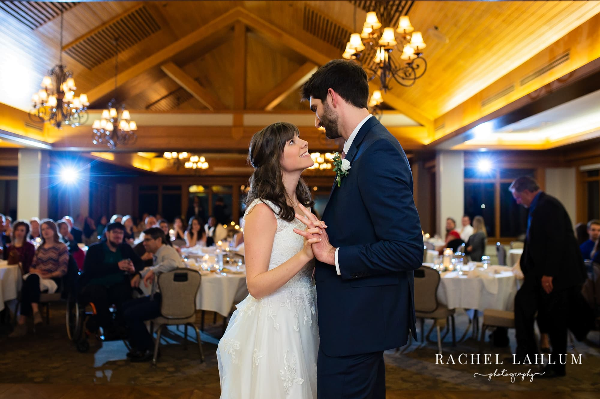 Bride and groom's first dance portrait at Mendakota Country Club in St. Paul, Minnesota.