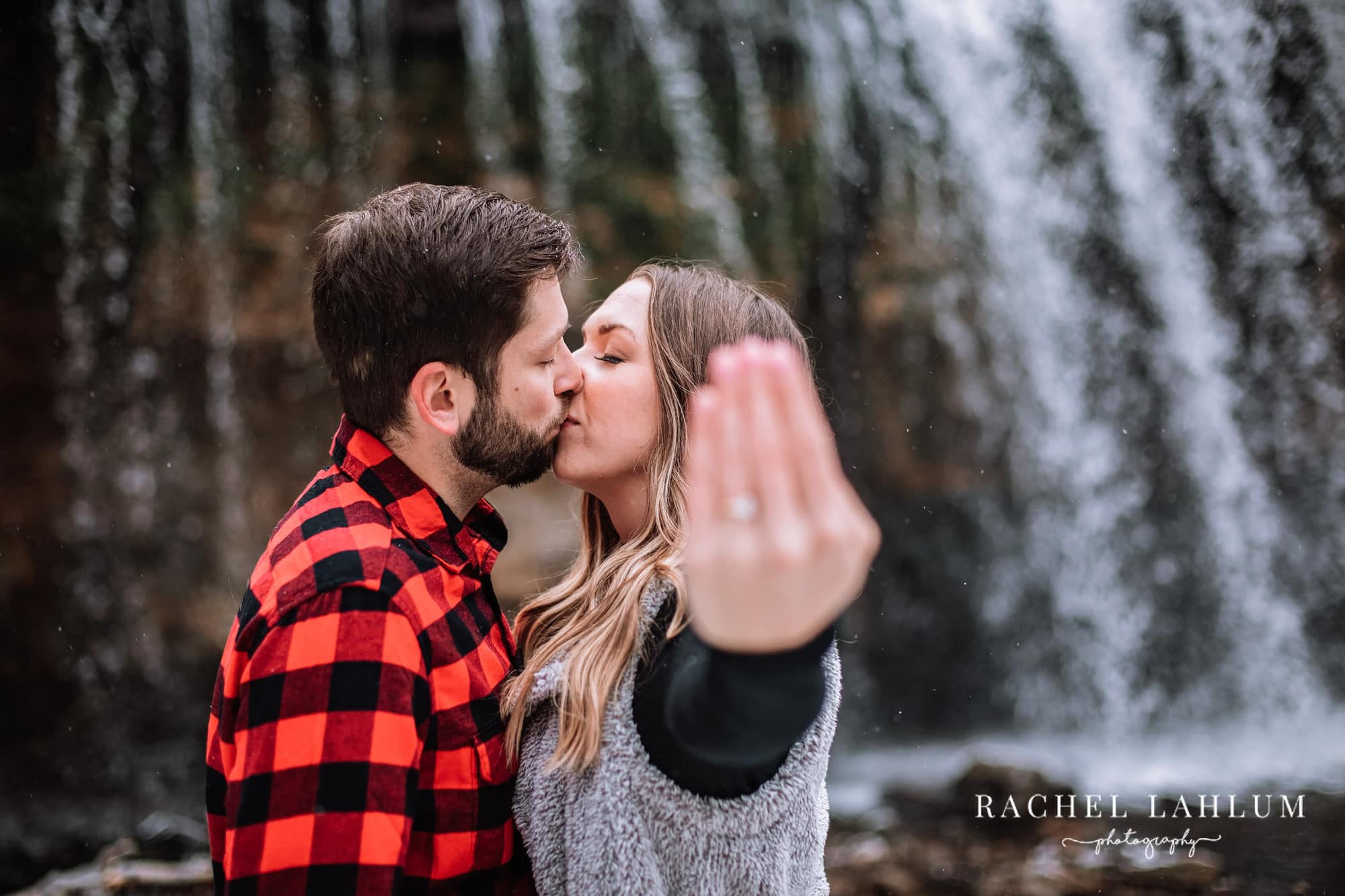 Winter engagement session at Cascade Falls in Osceola, WI.