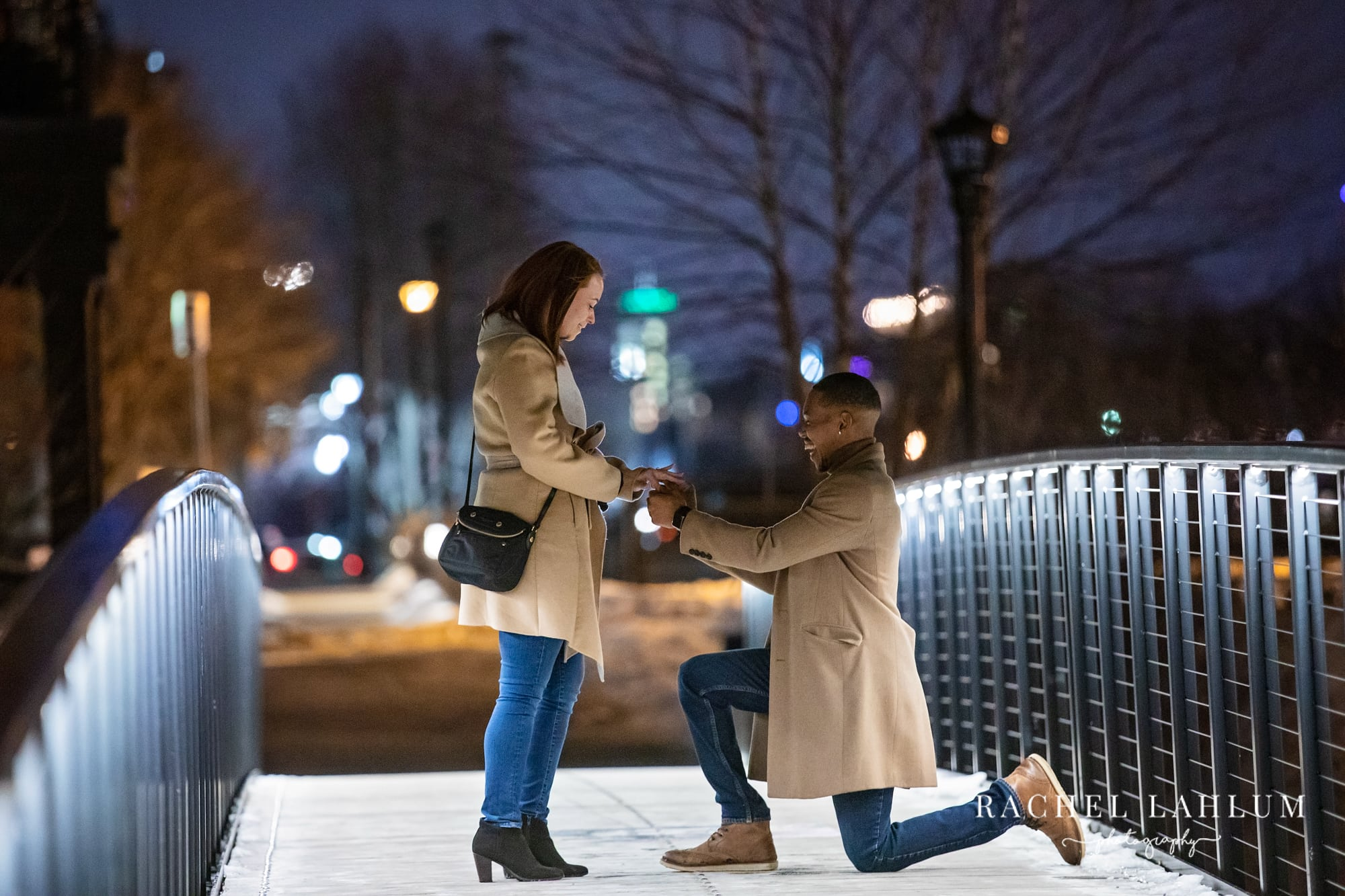 Night proposal photography in Minneapolis, MN