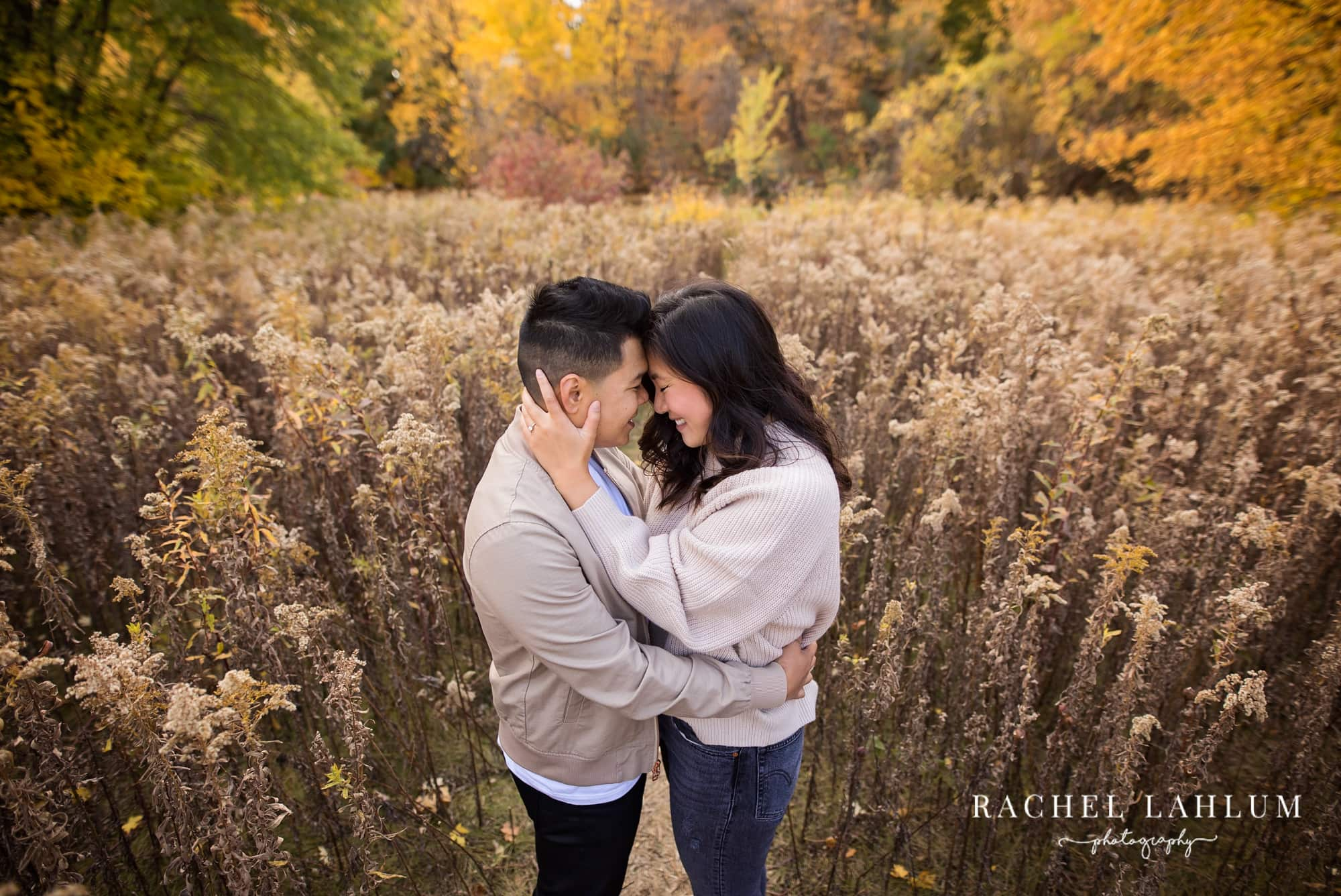 Autumn engagement session in wildflower field at Longfellow Gardens - South Minneapolis.