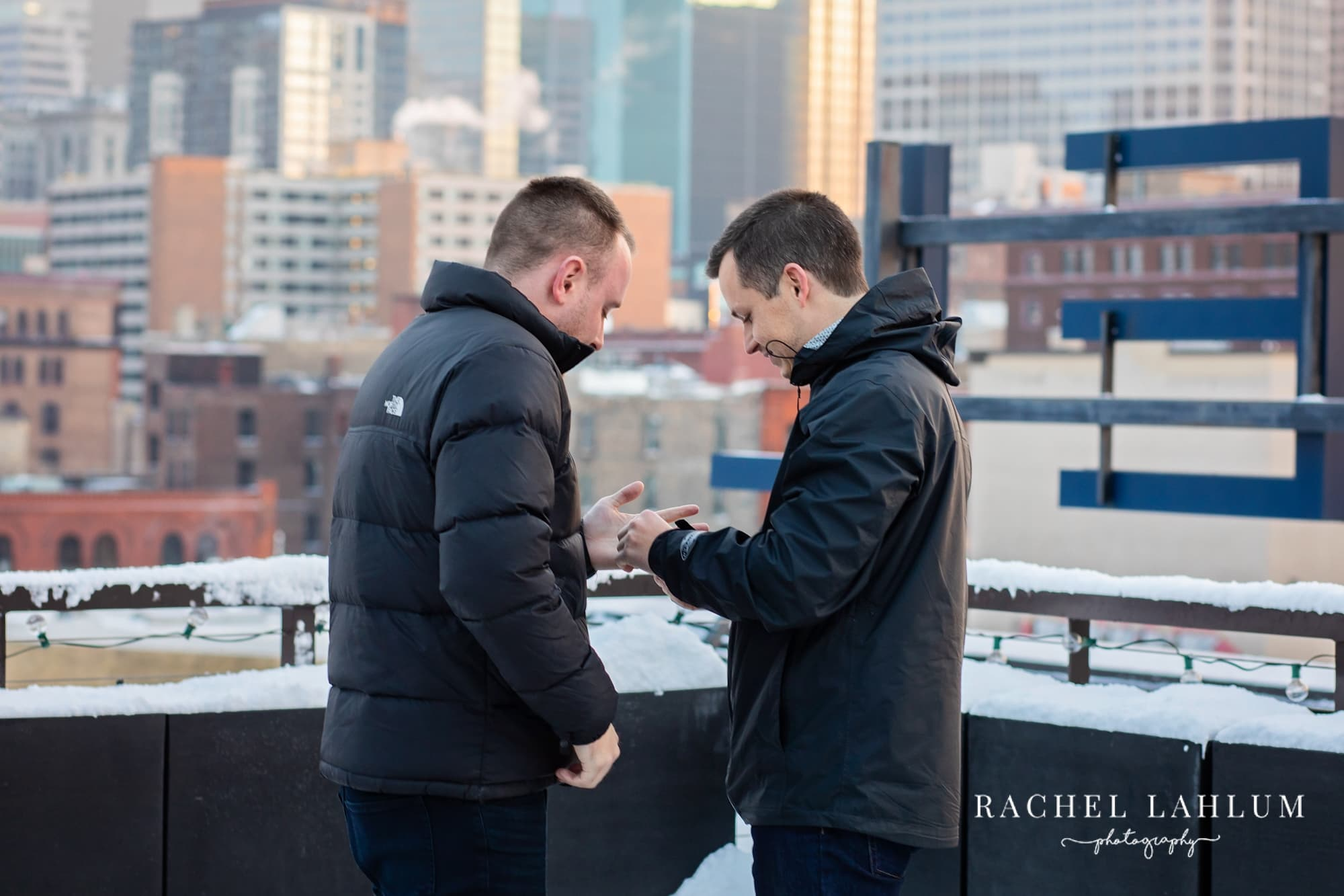 Same-sex proposal photography in Downtown Minneapolis.