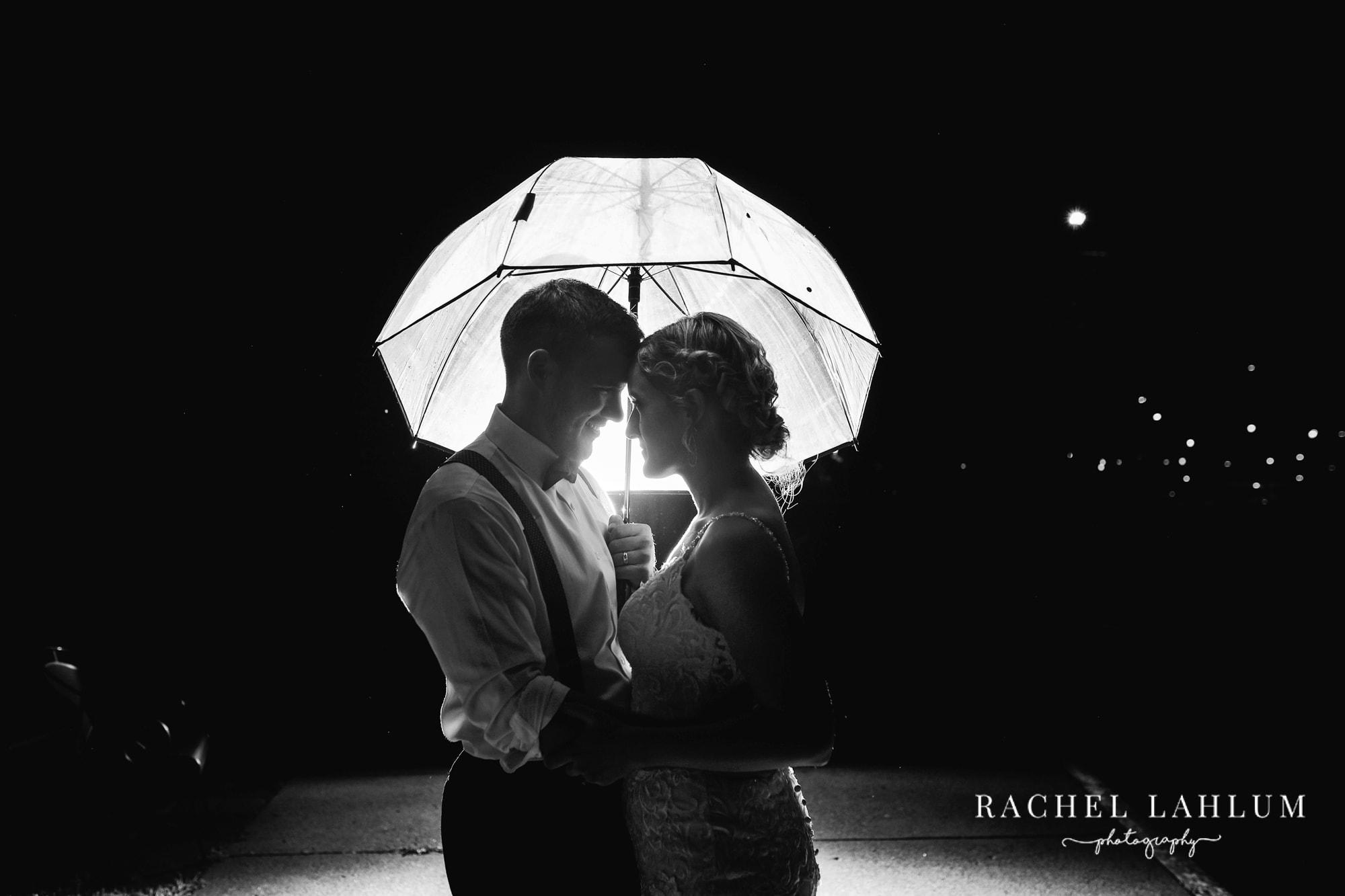 Nighttime wedding portrait of bride and groom at The Metropolitan Club & Ballroom.