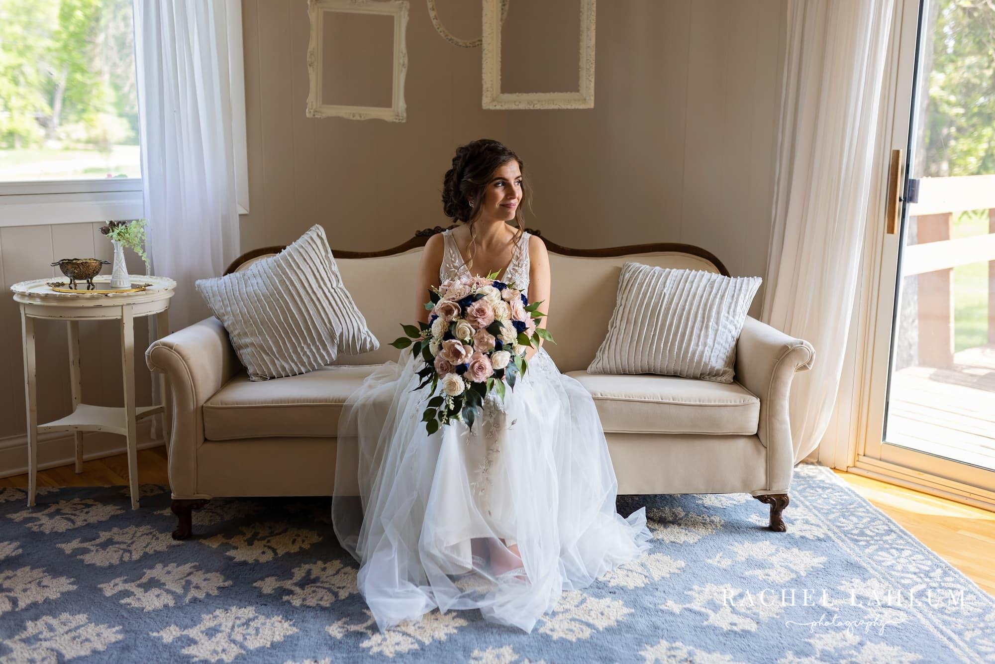 Portrait of bride in bridal suite at The Cottage Farmhouse.