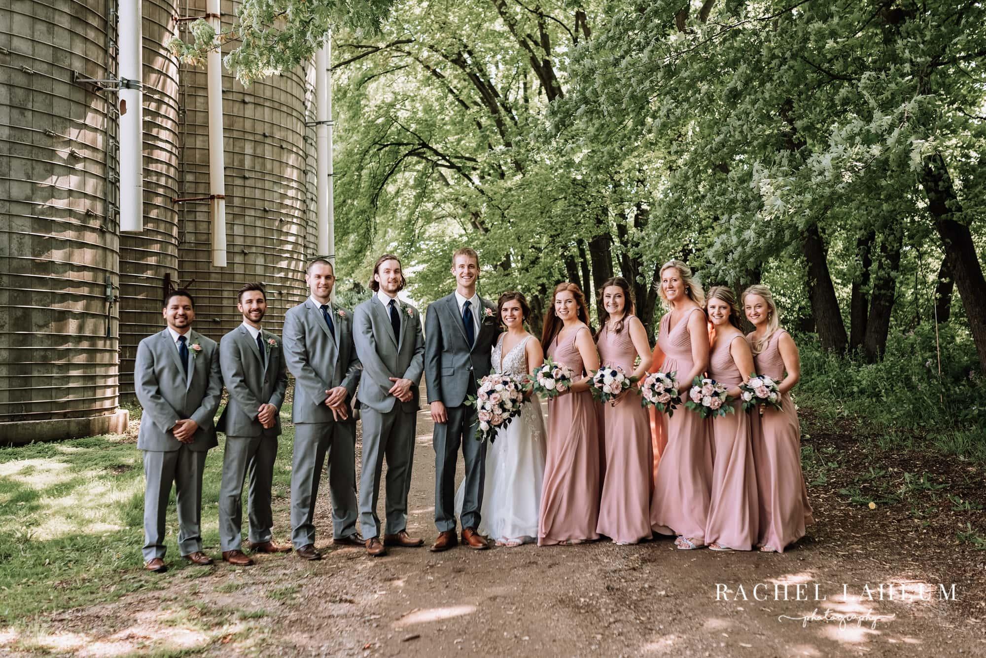 Portrait of bridal party at the Cottage Farmhouse.