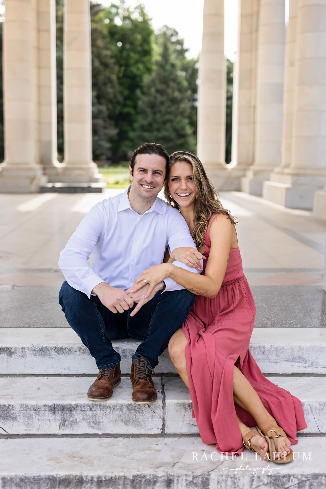 Makayla and Matt pose for their engagement session at Cheesman Park in Denver, Colorado.
