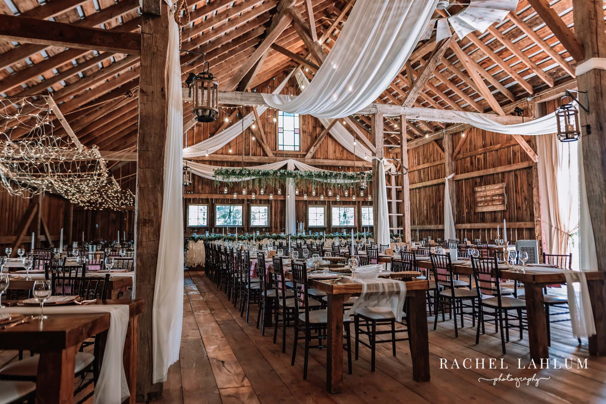 Reception hall at Wilderness Wedding Barn in Bigfork, Minnesota.
