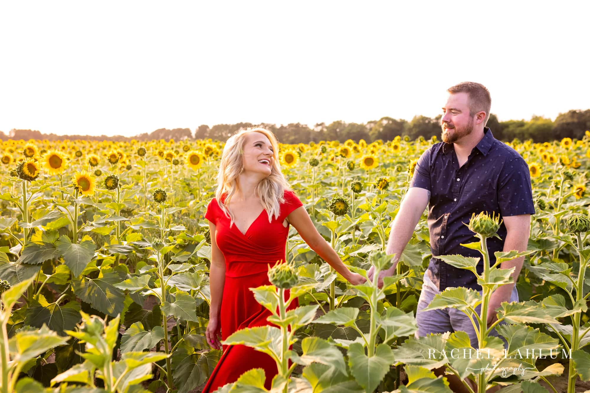 Laura looks back at Kelly as they hold hands through a sunflower field in Isanti, MN.